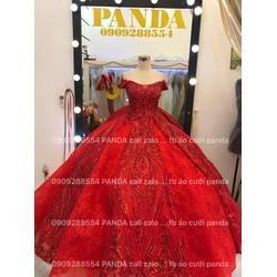 áo cưới tay ngang đỏ kim sa lấp lánh