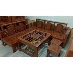 bộ bàn ghế salon gỗ phòng khách mẫu góc ,L 01