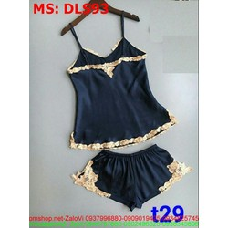 Sét bộ đồ ngủ áo 2 dây phối quần short phối viền ren sành điệu DLS93