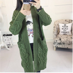 Áo khoác len cadigan form dài đan cuốn chéo pha túi
