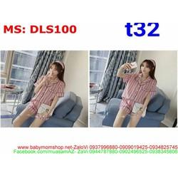 Sét bộ đồ ngủ pyjama sọc phối quần short siêu dễ thương DLS100