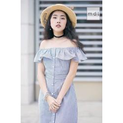 Đầm Maxi Sơ Mi Suông Sọc