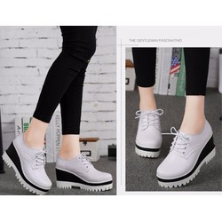 Giày sneaker nữ độn cao 7p 2 màu đen trắng