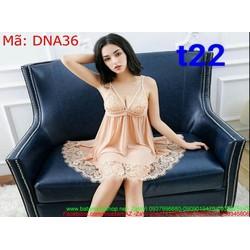 Sét bộ ngủ nữ 2 dây phôi viền ren hoa văn DNA36