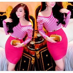 Set áo hồng kẻ sọc chân váy ôm body kèm belt