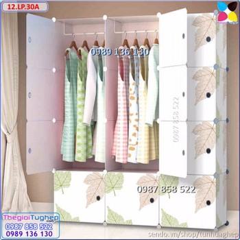 Tủ quần áo nhựa lắp ráp ghép thông minh đa năng 12 ô giá rẻ lá phong