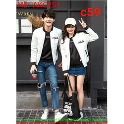 Áo khoác cặp đôi cổ phối thun logo fila phong cách