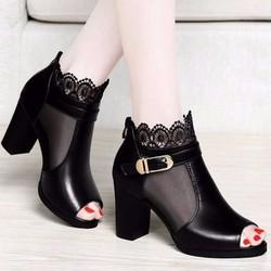 Giày Boot Cổ Lưới Hoa