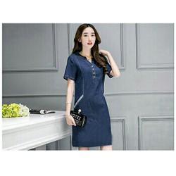 Đầm jean suông đơn giản