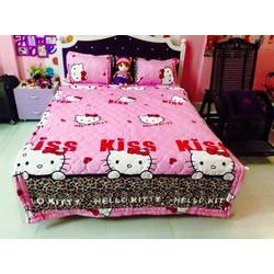 Bộ drap cotton kitty beo hồng