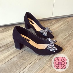 Giày gót vuông nơ sọc hàng VNXK