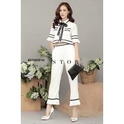 Set áo viền cổ bẻ nơ quần dài hàng thiết kế- MS: S270821 Gs: 190k
