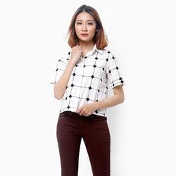 Áo somi xinh xắn nền trắng caro sọc đen