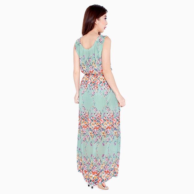 Đầm maxxi đi dạo phố màu xanh 2