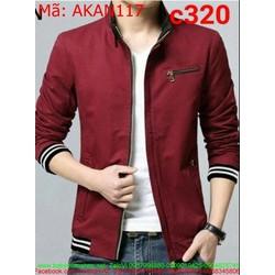 Áo khoác kaki nam màu đỏ phối viền thun thời trang