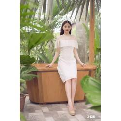 Đầm suông trắng phối lưới chấm bi 2138