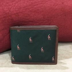 Ví Polo Ralph Lauren Silk và Leather màu Xanh lá