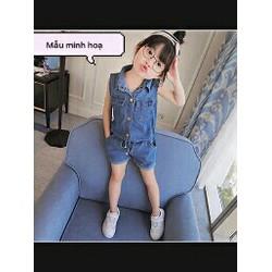 Set bộ jean bé gái áo cột mix quần short phong cách