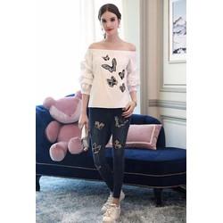 💓HÀNG NHẬP - Set bộ áo bẹt vai và quần jean thêu họa tiết - CK3083510
