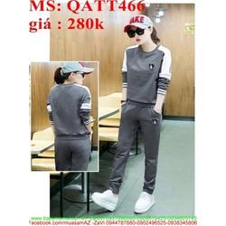 Sét thể thao nữ dài tay phối sọc trẻ trung và năng động QATT466