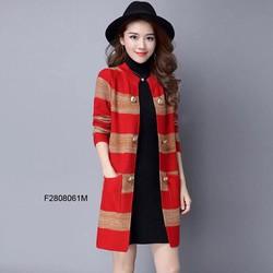 Áo khoác len sọc nút 2 túi tay dài hàng nhập -  MS: S280824 Gs: 160K
