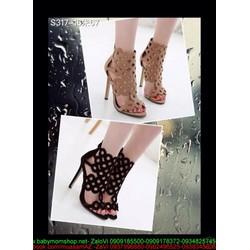 Giày cao gót nữ dạng boot hở mũi thiết kế khoét ô tròn