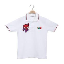 Áo thun bé trai thêu hình màu trắng size 2