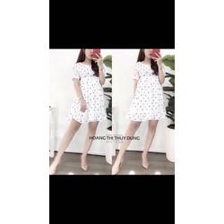 Đầm Voan Chấm Bi Hót-Đ165