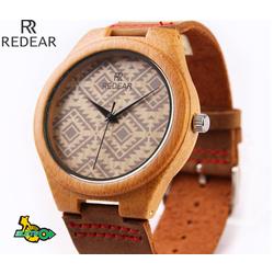 Đồng hồ nam nữ dây da mặt gỗ REDEAR