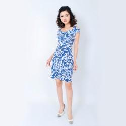 Đầm Họa Tiết Tay Cách Điệu Thời Trang Eden - D197
