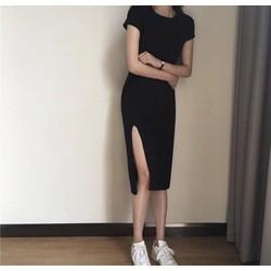 Đầm thun xẻ tà
