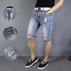 Quần short jeans nam xước rách