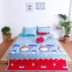 Bộ Chăn Drap Giường Cotton Lụa Totoro Mưa Rơi Tmark 160 x 200cm
