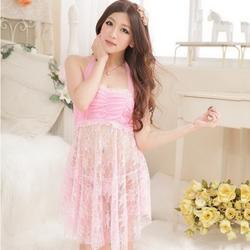 Đầm ngủ quyến rũ nhún ngực phối ren CDAN05 - Hồng