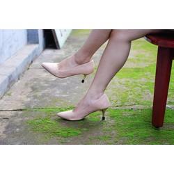 Giày cao gót công sở 5cm màu nude phối hoa văn đi tiệc sang chảnh