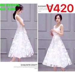 Đầm xòe dự tiệc sát nách màu trắng chất liệu lưới hoa văn  DXV446