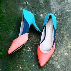 Giày cao gót công sở 7cm phối màu sành điệu