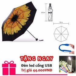 ô che mưa mưa nắng chống tia uv hoa cúc vàng tặng đèn led usb