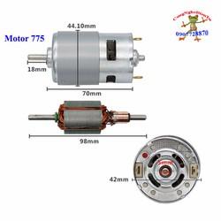 Motor 775 trục tròn 12v - 24v có bạc đạn