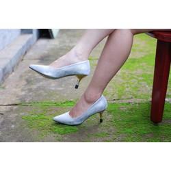 Giày cao gót công sở 5cm phối hoa văn đi tiệc sang chảnh