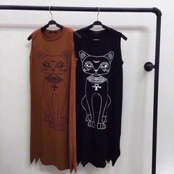 Đầm maxi thun in mèo cut out