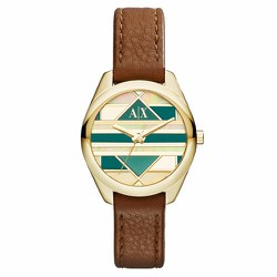 Đồng Hồ Armani Exchange Gold and Green Dial Brown Leather