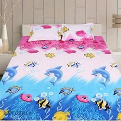 Bộ drap giường + 2 vỏ gối nằm cotton nhung cá heo cao cấp - XN027