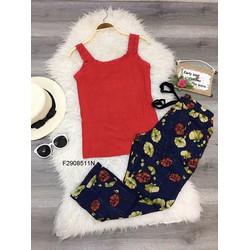 Set áo thun viền ren 2 dây quần dài hoa  MS: S290876 Gs: 115k