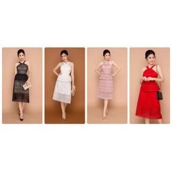 Đầm xòe ren 2 tầng cổ yếm thiết kế cao cấp