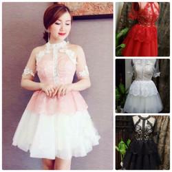 Đầm ren xòe phối lưới thiết kế công chúa