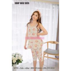 Đồ bộ mặc nhà lửng thun cotton hàng xuất khẩu - B793