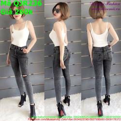Quần jean nữ lưng cao ống ôm màu xám ghi thời trang QJR236