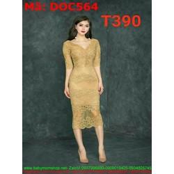 Đầm ôm dự tiệc cổ v chất liệu ren vàng sang trọng DOC564