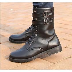 Giày nam combat boot 2 vòng khóa